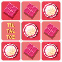 Tic-Tac-Toe of  strawberry cup cake and strawberry chocolate bar