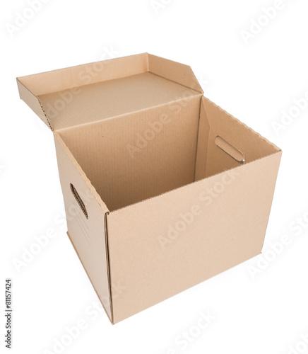 Leinwanddruck Bild Brown Carton Box Isolated on white
