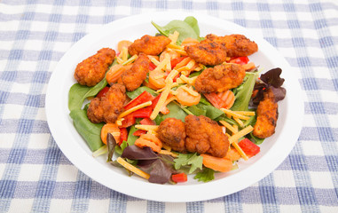 Fresh Salad with Buffalo Chicken Nuggets