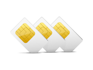 three gray white sim cards