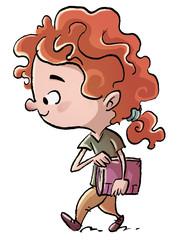 niña caminando con libro