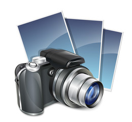 Photo camera and photos. Vector illustration