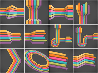 Set of colorful lines backgrounds