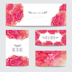 watercolor floral cards set