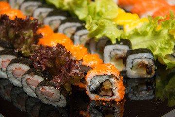Set of Sushi roll, with shadows and reflection