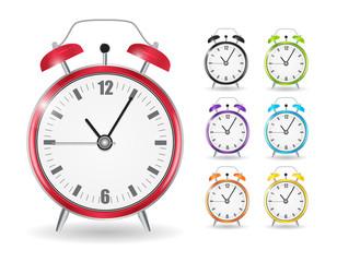 Realistic Clock Alarm Watch Set Vector Illustration