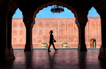 Woman silhouette in City Palace