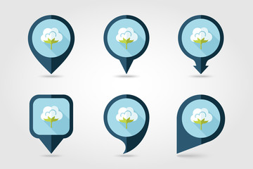 Cotton flat mapping pin icon with long shadow