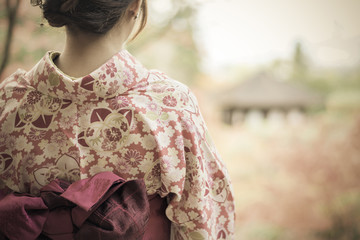 Back of a pretty Japanese girl in beautiful atmosphere in retro