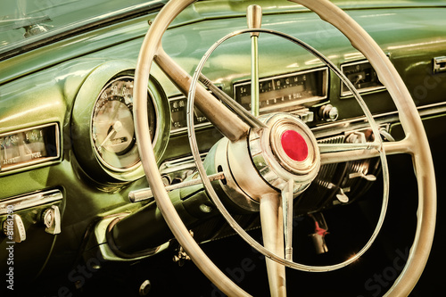 Foto Spatwand Vintage cars Retro styled image of the interior of a classic car