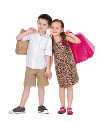 boy and girl shopping