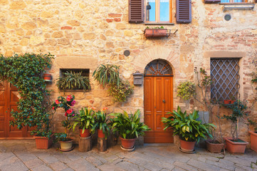 Beautiful and picturesque streets of the Tuscan small town, Pien