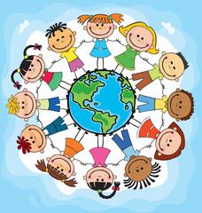 children of different nationalities around the globe