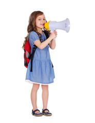 schoolgirl with loudspeaker in hands