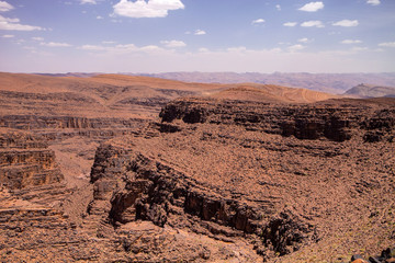 inhospitable rocks in the mountains of the High Atlas, Morocco