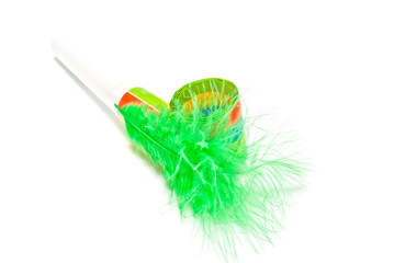 green festive whistle with feathers