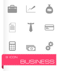 Vector black business icon set