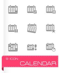 Vector black calendar icon set