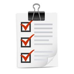 Checklist with binder clip icon