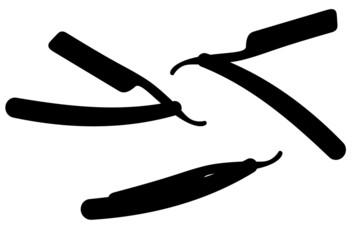 set icons straight razor black silhouette vector illustration