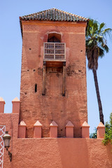 Tower fortified palace in Marrakech, Morocco