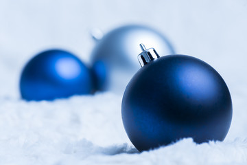 Blue and silver baubles