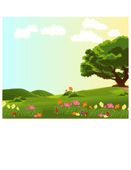 landscape of green meadow with colourful flowers