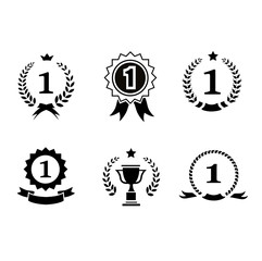 Set of black and white circular  winner emblems with leader