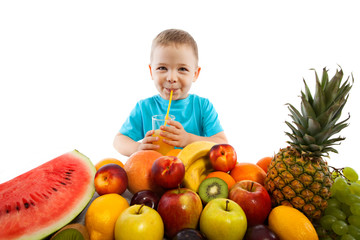 Little boy with fruits, healthy eating kids concept