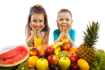 Happy children with fruits, healthy eating kids concept