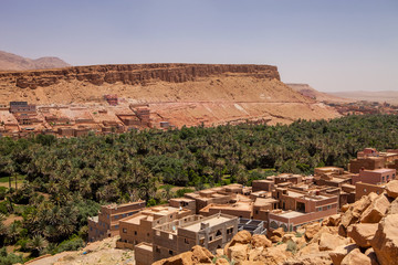 small traditional village in the green oasis, Morocco