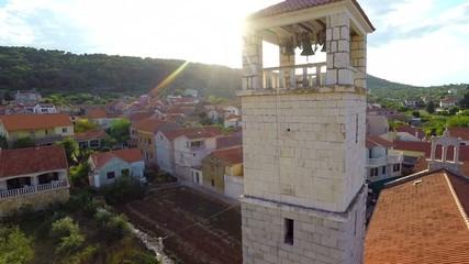 Aerial footage of village in Croatia