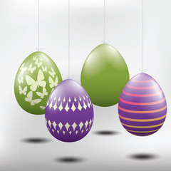 Easter eggs, green and purple