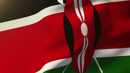 Kenya flag waving in the wind. Looping sun rises style