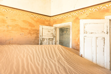 Abandoned house in ghost town of Kolmanskop in Namibia