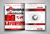 Vector bi-fold brochure template design or flyer layout