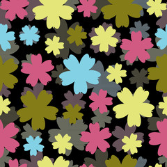 Abstract vector colorful background with flowers.