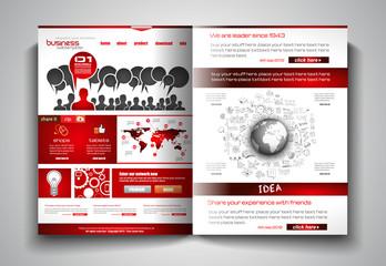 Vector bi-fold brochure template design or flyer layout