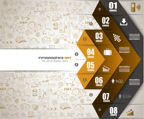 Infographics Teamwork with Business doodles Sketch background: