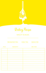 Baking recipe card template with whisk. Vector design.