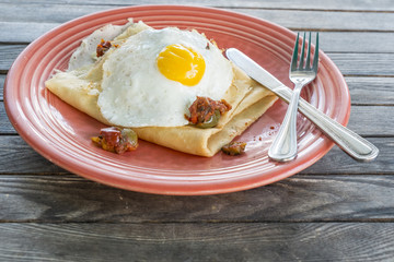 Crepe with Ratatouille and Fried Egg