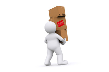 White holding cardboard box with clipping path.