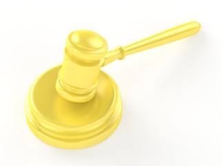 Gold gavel and soundboard isolated on white 3d