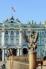 Eagle in the imperial crown on background of Hermitage