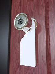 Blank Sign on the Door Handle 3D