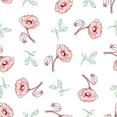 pattern of beautiful poppy flowers