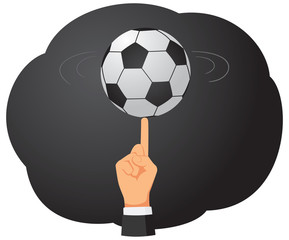 Businessman hand is spinning a classic soccer ball