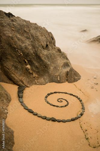 Foto op Plexiglas Spiraal Esoterische Spirale am Strand von Pouldu
