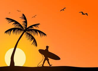 Strand mit Surfer
