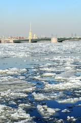 Spring icedrift on the Neva river